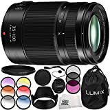 Panasonic Lumix G X Vario 35-100mm f/2.8 II POWER O.I.S. Lens 10PC Accessory Kit – Includes Manufacturer Accessories + 3 Piece Filter Kit (UV + CPL + FLD) + MORE - International Version (No Warranty)