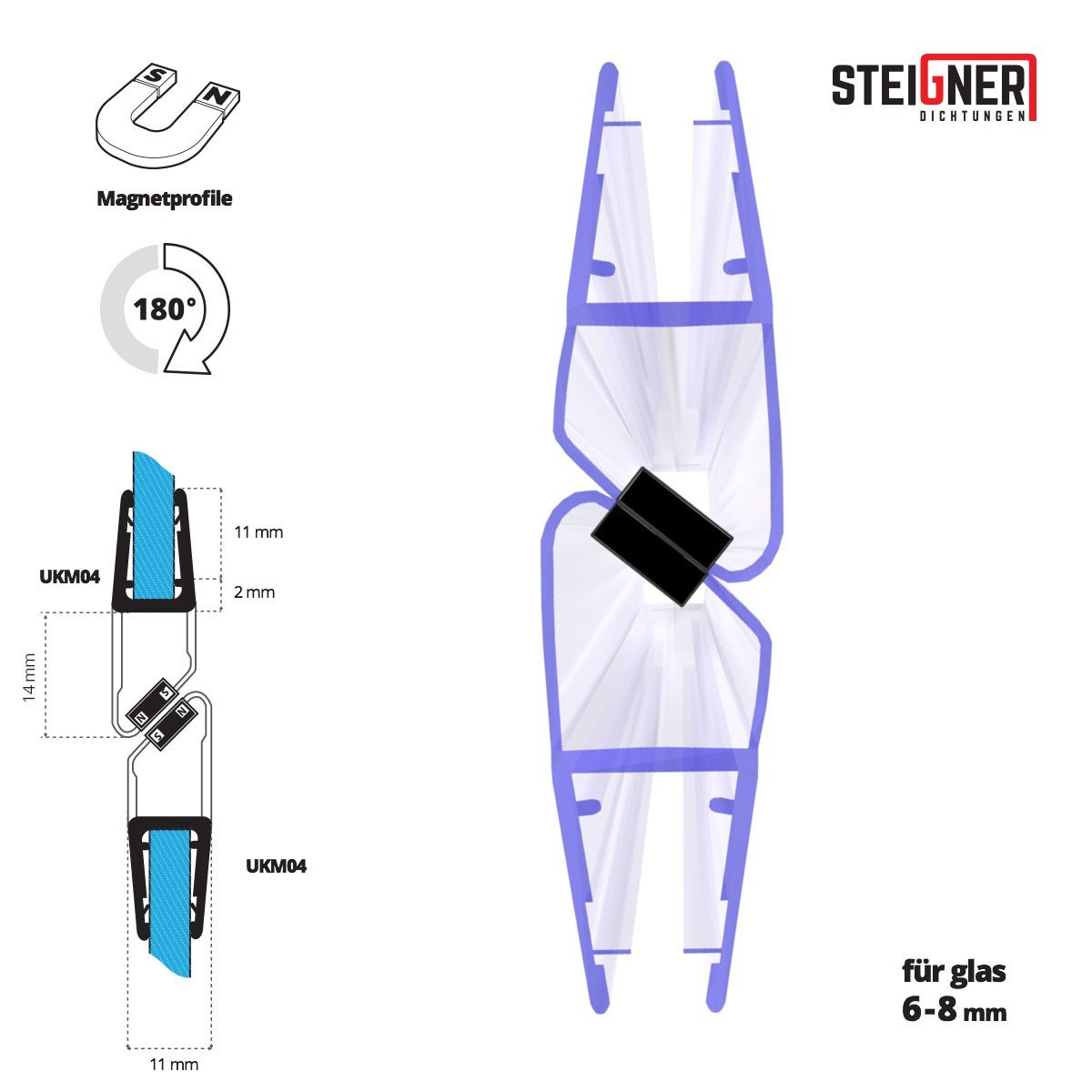 STEIGNER Set Of Magnetic Shower Door Seals 6/7/8 mm UKM04 180° For Glass-To-Glass Fits Protection Against Leakage 2 Pieces 201 cm