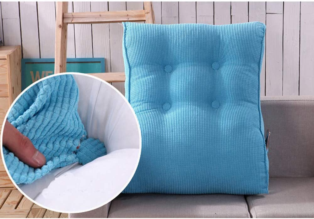 Modenny Triangular Waist Back Big Large Cushion Pillow Comfortable Backrest Cushion for Sofa Bed Thick Lumbar Backrest Pillow for Chair Color : Blue, Size : 45x55cm