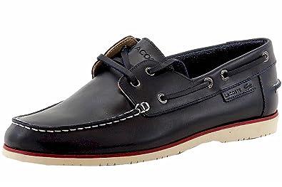 quality design a846f 1c021 Lacoste Men s Corbon 8 Fashion Dark Blue Leather Boat Shoes Sz  10.5