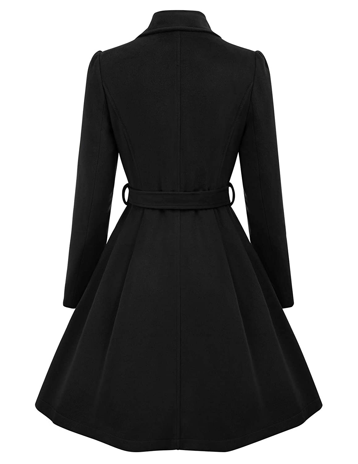 Belle Poque Womens Double Breasted Wool Coats Winter Trench Jacket with Belt