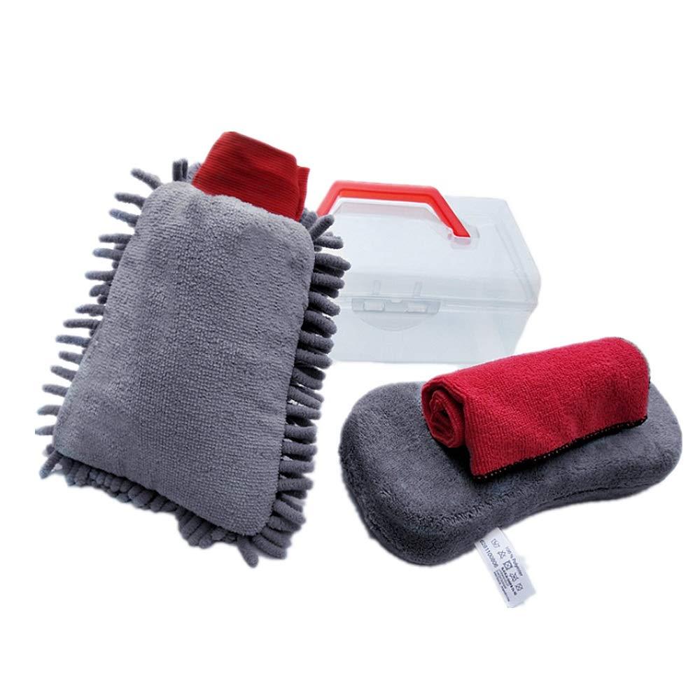 Car Washing Mitt 4pcs Car Cleaning Tools Kit with Box Wash Mitt Sponge Exterior and Interior Wash Towels Cloths Microfiber Cloths Car Care Washing Tool