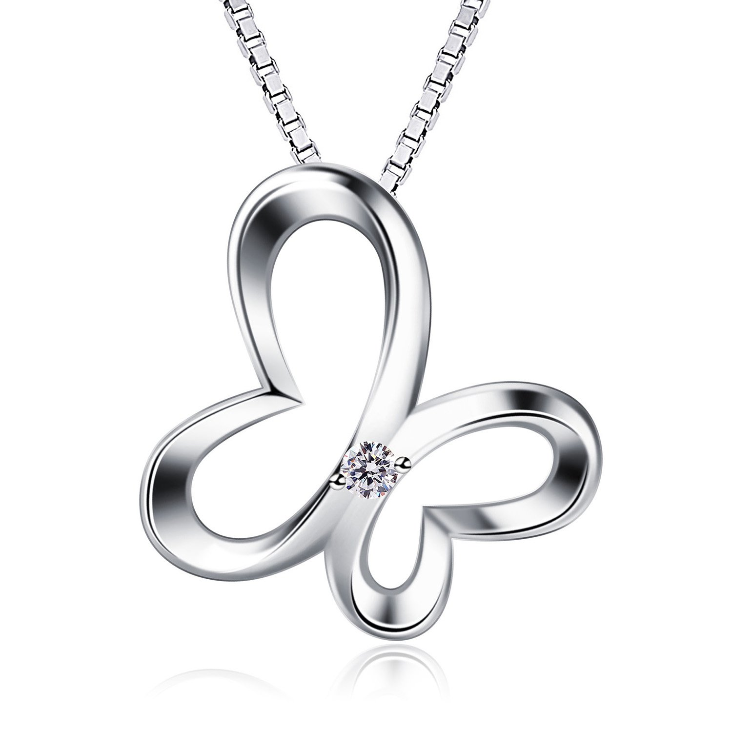 B.Catcher Necklaces Womens Necklace Pendant 925 Sterling Silver Dancing Butterfly Jewelry Set 45cm