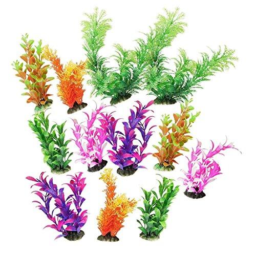 Saim 12 Pcs Assorted Color Plastic Plants Set Aquarium Fishbowl Jardin Simulation Artifcial Plants Decor Fish Tank Ornament