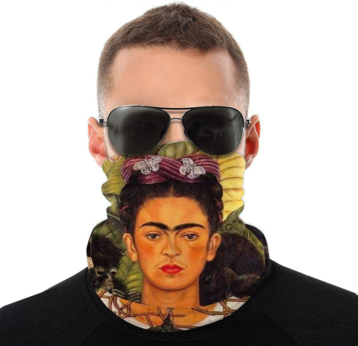 Frida-Kahlo Neck Gaiter Breathable Fishing Running Cycling Head Scarf Motorcycle face Nose Covers for Men Women Black