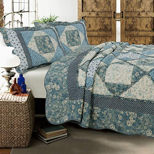 (Cozy Line Home Fashions Dianna Blue Rose Floral Vintage Cottage Real Patchwork Quilt Bedding Set, 100% Cotton Reversible Coverlet Bedspread for Women(Blue Roses, Queen - 3 Piece))