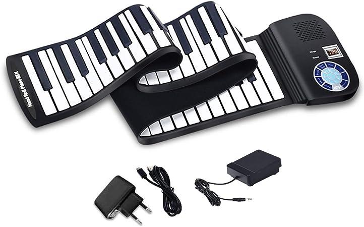 COSTWAY Teclado Piano Digital 81 Teclas Piano Roll Up Plegable Portátil con Pedal y MIDI Bluetooth
