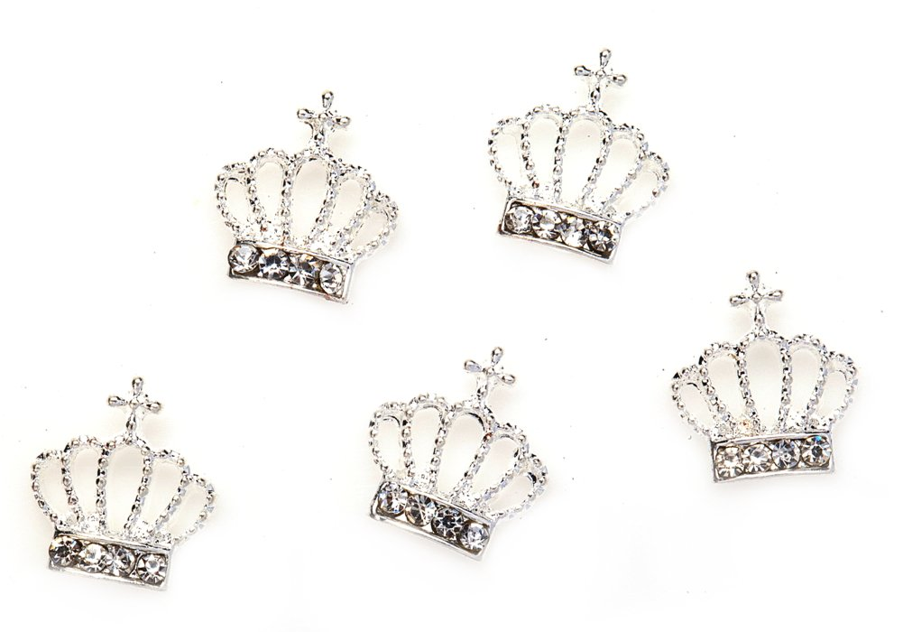 Professional Set of 5 3D Silver Crowns Studded With Rhinestones / Crystals Manicure Nail Art Decorations By VAGA