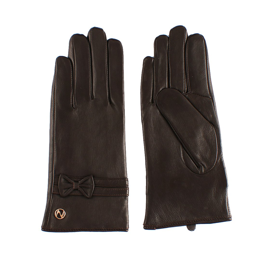 Nappaglo Women's Lambskin Leather Gloves Female Short Thickened Warm Gloves with Decorative Bownots (Touchscreen or Non-Touchscreen) (XXL (Palm Girth:8.5''-9''), Dark Brown (Touchscreen))