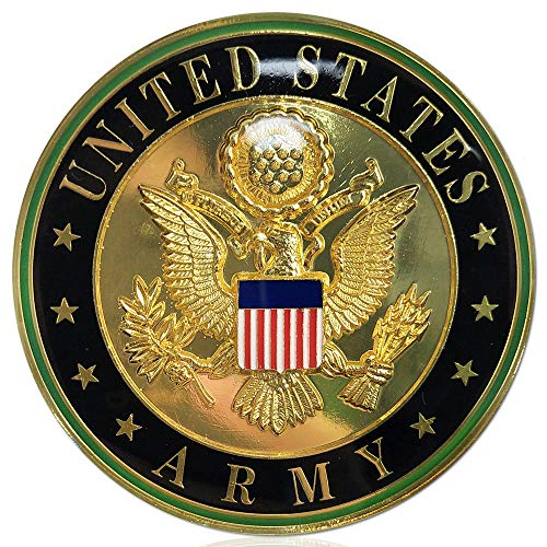 U.S. Army Metal Auto Decal Car Emblem Military Challenge Coin Veteran Gift