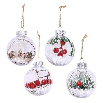Transparente Christbaumkugeln.P Prettyia 4er Pack Plastik Weihnachtskugeln Transparente