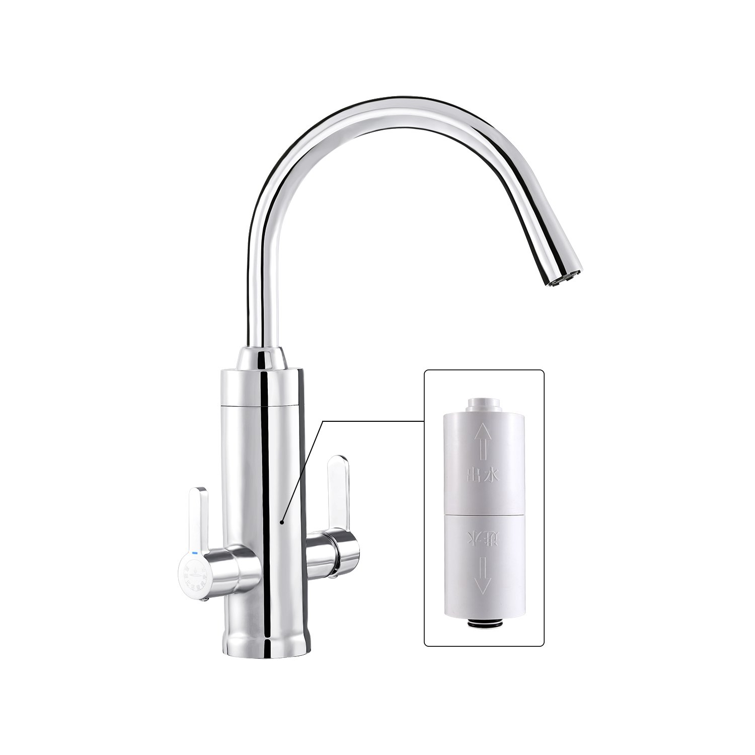 Wagen Built-in Filter Kitchen Faucet, 8 Stage 0.05micron Filter Tap ...
