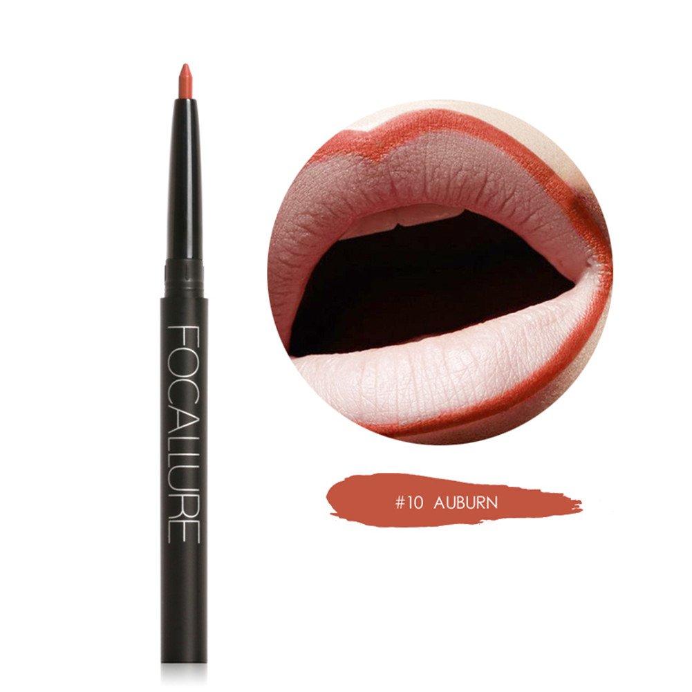 Focallure Lápiz Labial Impermeable Delineadores de Labios Mate Permanente Accesorios de Maquillaje Profesional (#16) Samber