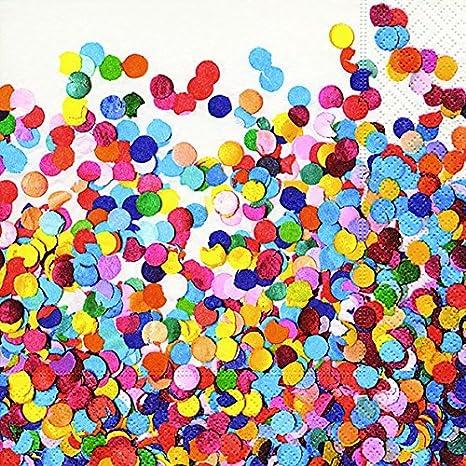 20 servilletas de confeti multicolor/Fiesta/Cumpleaños ...