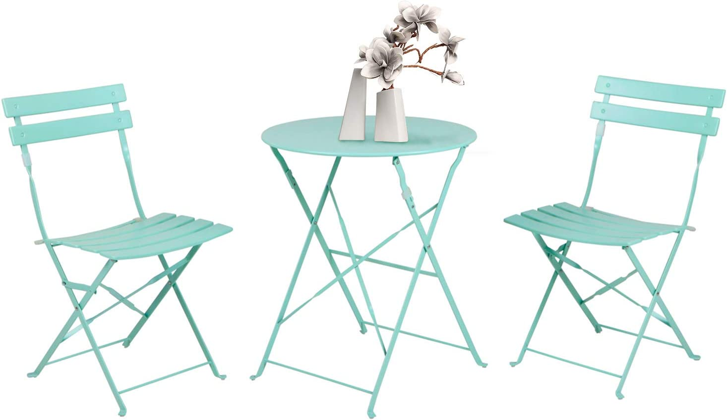 Grand patio 3pc Metal Folding Bistro Set, 2 Chairs and 1 Table, Weather-Resistant Outdoor/Indoor Conversation Set for Patio, Yard, Garden-Macaron Blue