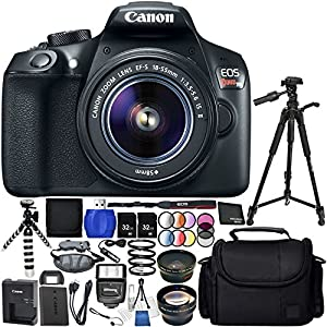"""Canon EOS T6 with EF-S 18-55mm f/3.5-5.6 IS II Lens 18PC Accessory Bundle – Includes 72"""" Tripod + 2 32GB SD Memory Card + Digital Slave Flash + Remote Shutter Release + MORE"""