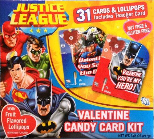 Justice League Valentine Candy Card Kit 31 Cards Lollipops with Superman, Batman, Wonder Woman Etc.