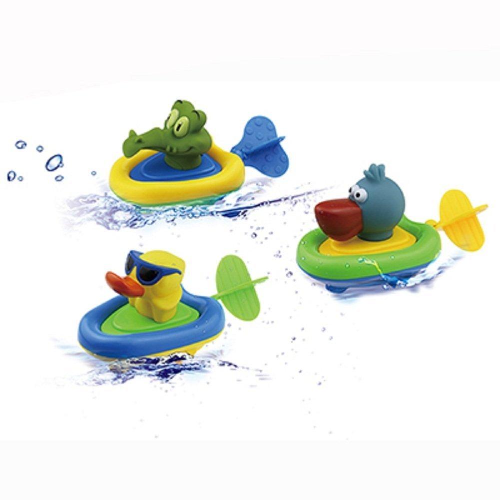 YOSWAN Amphibious Pull and Go Boat Car Playset Bathing Soft Rubber Duck Crocodile Pelican Animal Boat Swimming Bathtime Fun Bath Tub Toys for Boys Girls Toddlers (Duck+Crocodile+Pelican)