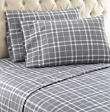 queen plaid flannel sheets - Thermee Micro Flannel Shavel Home Products Sheet Set, Fashion Plaid/Grey, Queen