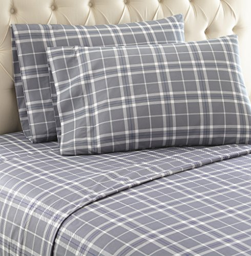 Home Plaid (Thermee Micro Flannel Shavel Home Products Sheet Set, Fashion Plaid/Grey, Queen)