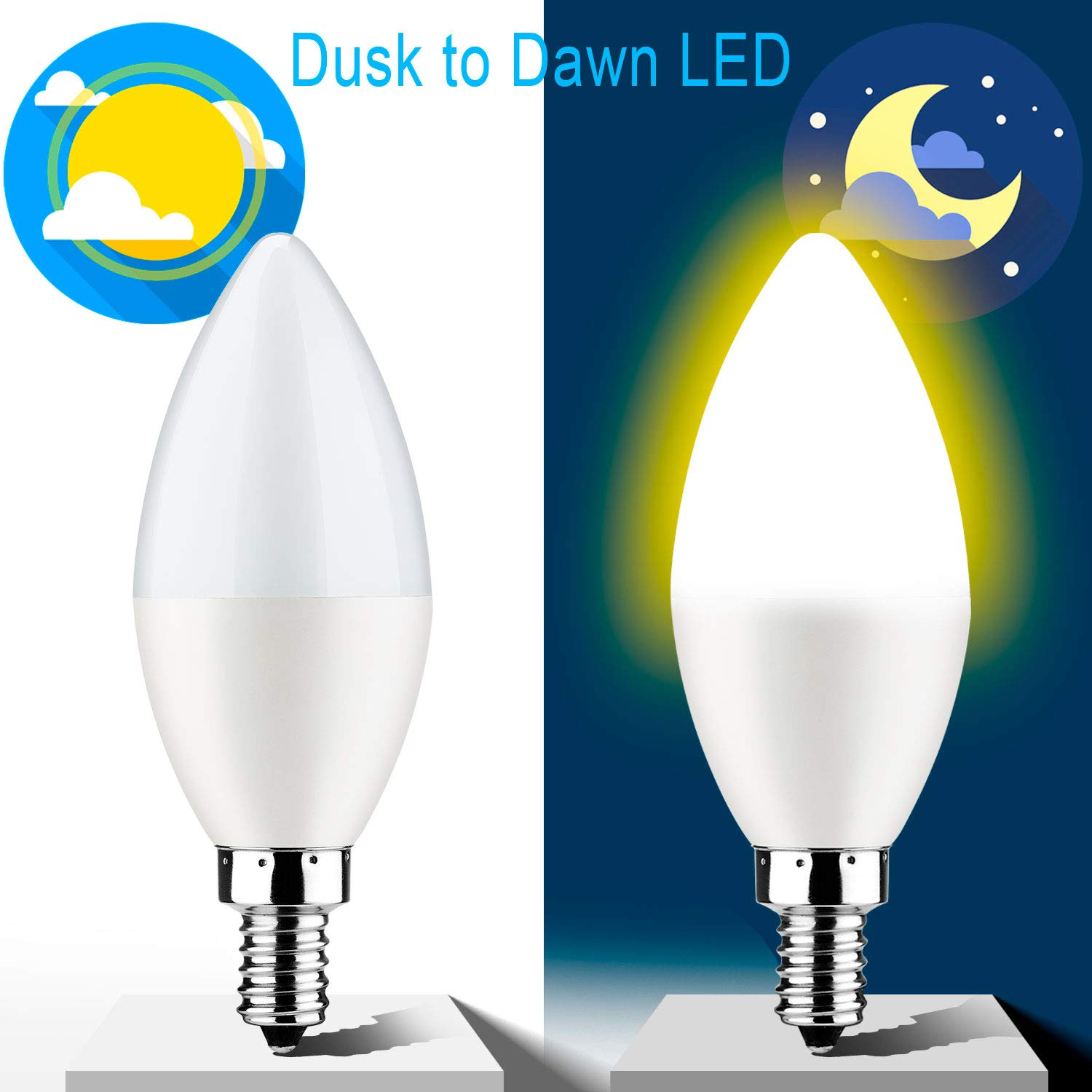 Dusk To Dawn Light Bulb E12 Candelabra Sensor Light Bulbs Auto On