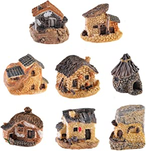 8 Pack Miniature Fairy Garden Stone House, Resin Village House Fairy Garden Kits Figurines, Mini Fairy Cottage House Fairy Garden Kits Dollhouse Supplies DIY Outdoor Decorations, Plant Pot Micro Land