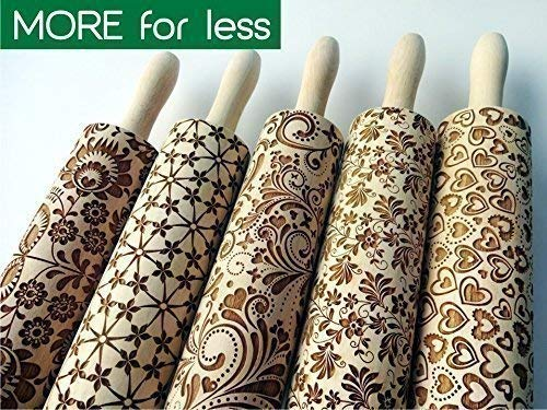 (5 ANY pattern Rolling Pin SET. Laser engraved embossing rolling pins for homemade cookies. Choose your)
