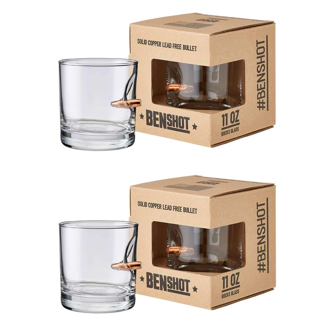 [set of 2] The Original BenShot Bullet Rocks Glass with Real 0 308 Bullet  Made in the USA