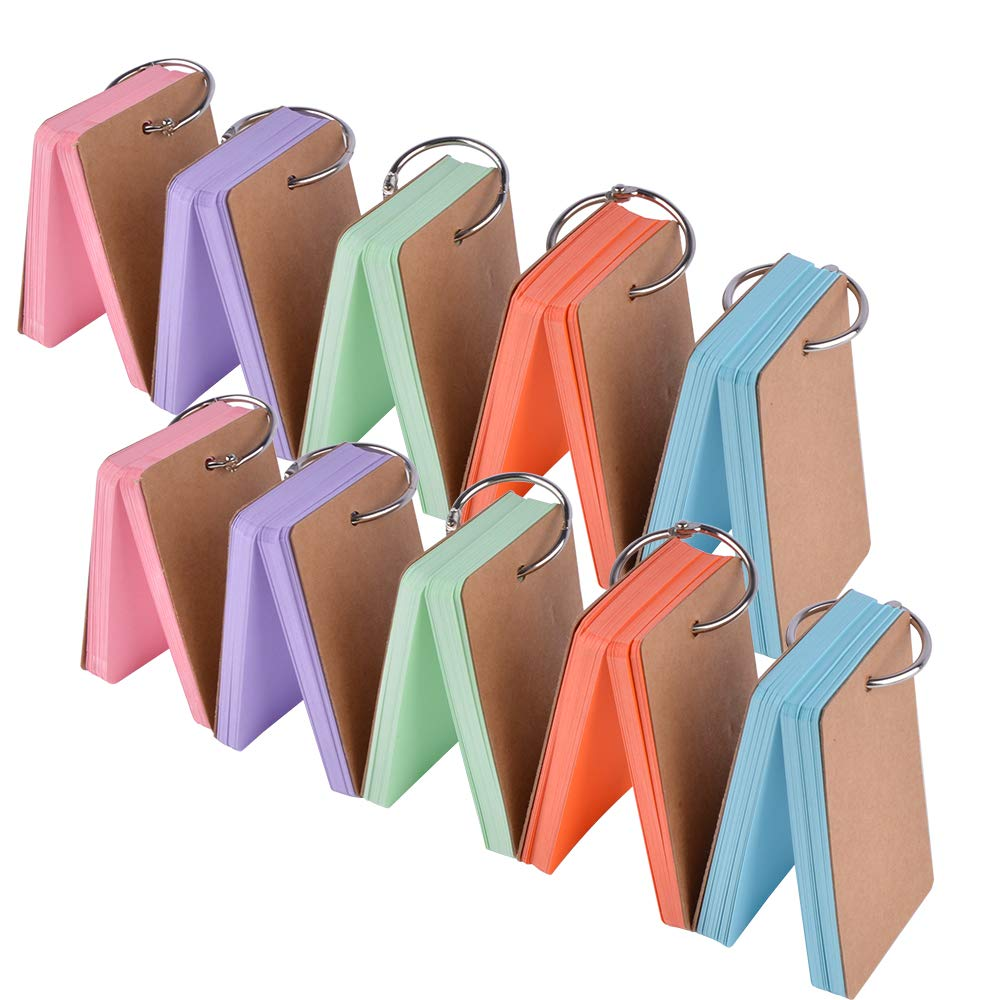 Cehomi 5 Color Flash Cards Index Cards. Multicolor Note Cards with Binder Ring. Blank Kraft Paper Easy Flip DIY Greeting Cards(10 Pack,50 Pieces/Pack, 3.5x2.2 inch)