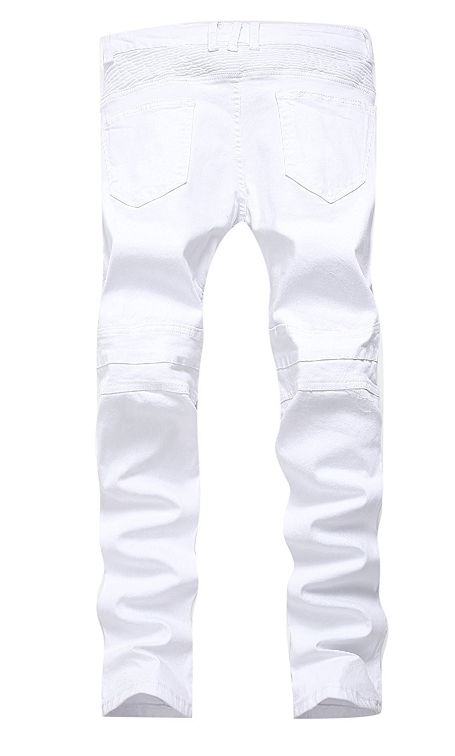 TOPING Fine Fashion;Handsome Men's Biker Moto Distressed Destroyed Fashion Skinny Fit Jeans WhiteW32