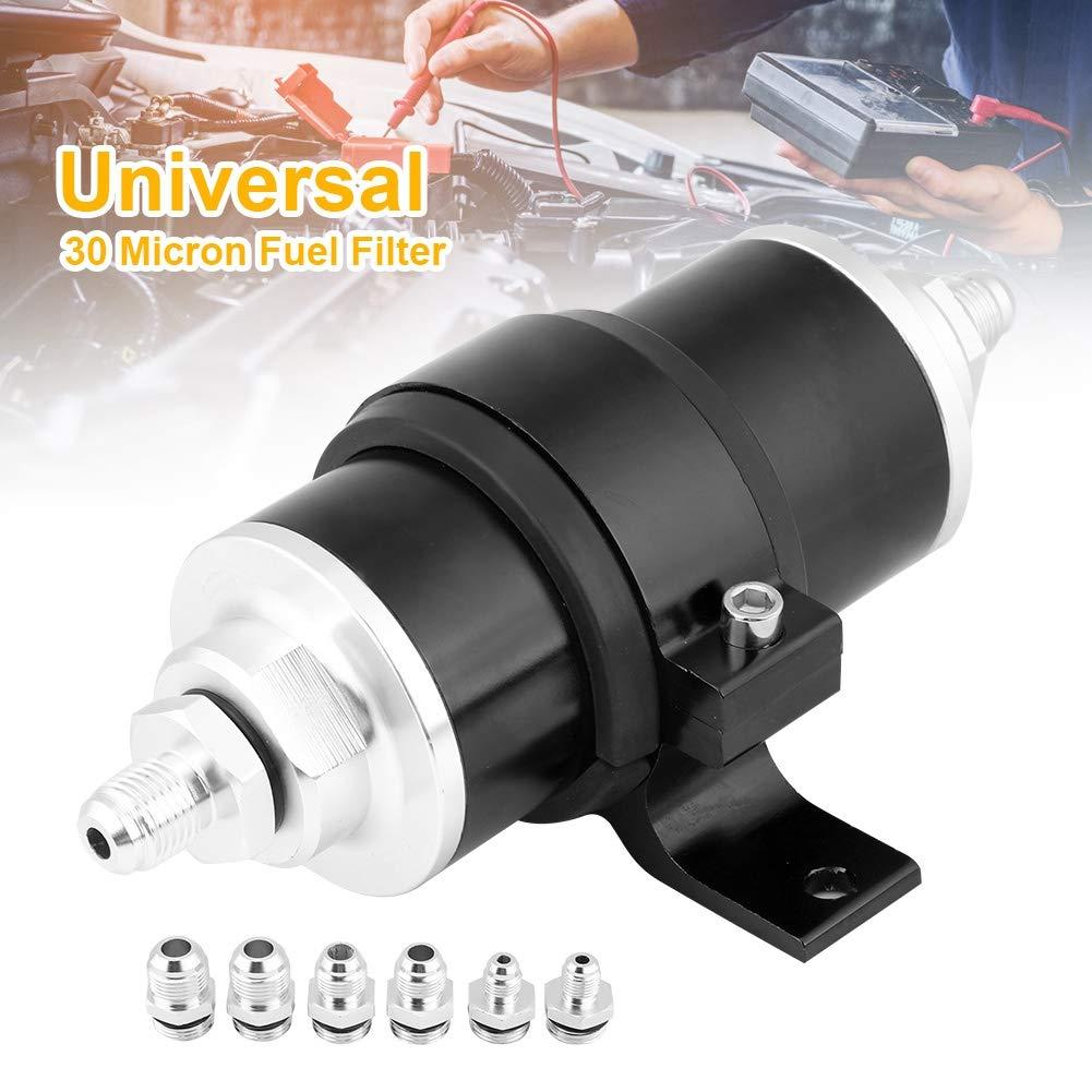 AN10 Halterung AN6 AN8 KIMISS Universal Black 30 Mikron Billet Aluminium Inline Benzinfilter silber