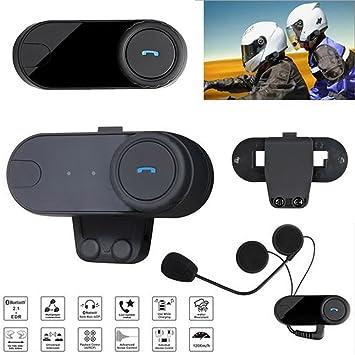Casco de Moto Bluetooth Intercom Auriculares con Micrófono para Riders, Soporte de Llamadas de teléfono