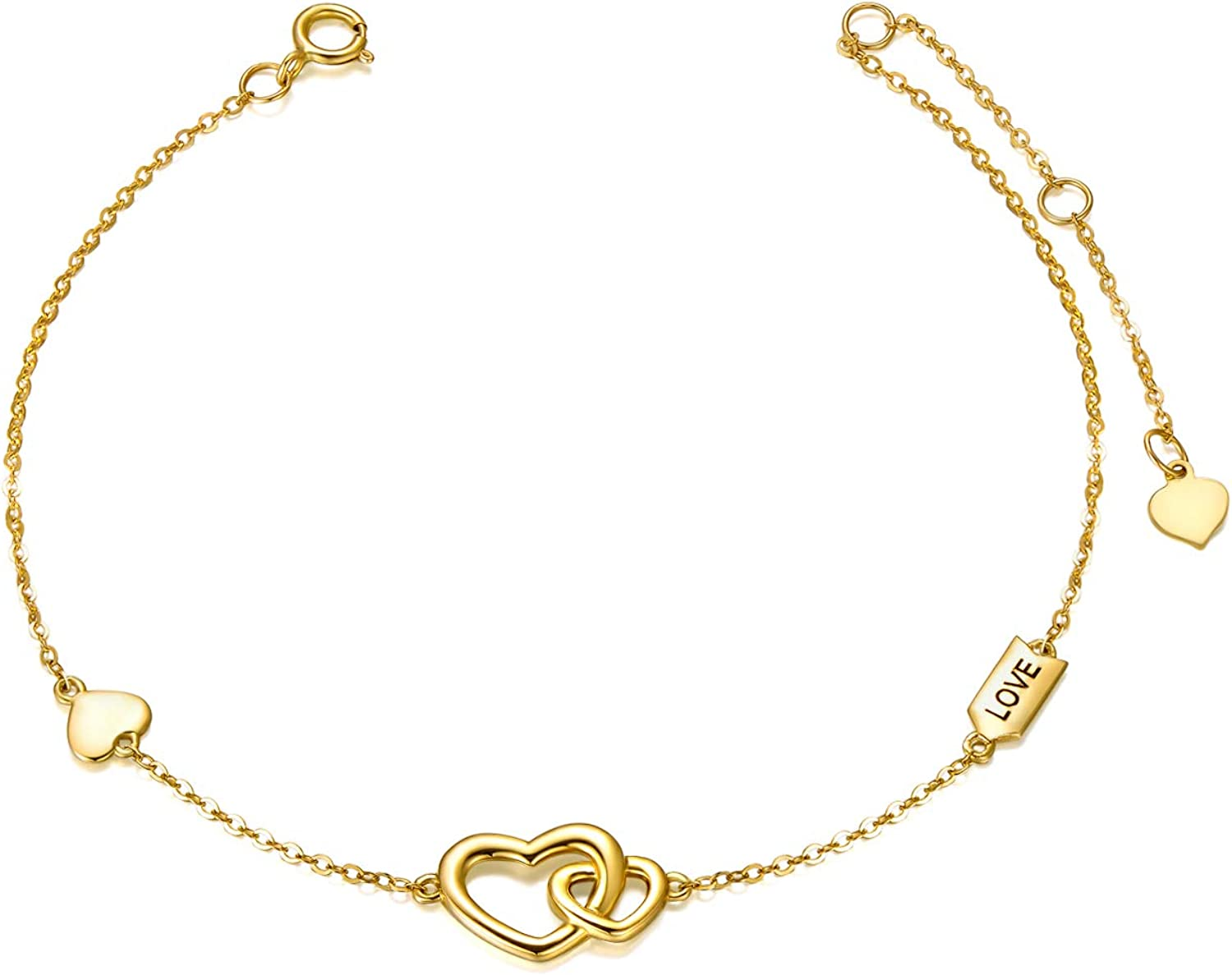 For Her And Him Valentine's Day Gold Bracelets Handmade Heart Love Black /& Red