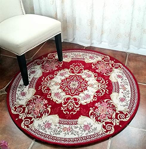 - Hihome Round Area Rugs Retro Floral Shag Carpet Non-Slip 4-Feet Woven Pattern Machine Washable for Living Room Bedroom Dining Room (Round 4 FeetRed)