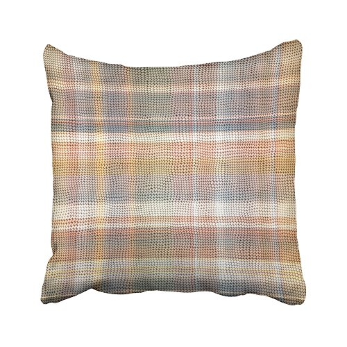 Emvency Decorative Throw Pillow Covers Cases Beige Kilim Plaid Matting Brown Mat Bass Bast Burlap Caledonian Carpet Check 16x16 inches Pillowcases Case Cover Cushion Two Sided]()