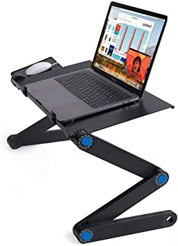 Portable Lap Desk Folding Laptop Computer Table Adjustable Bed Tray Stand w// Fan