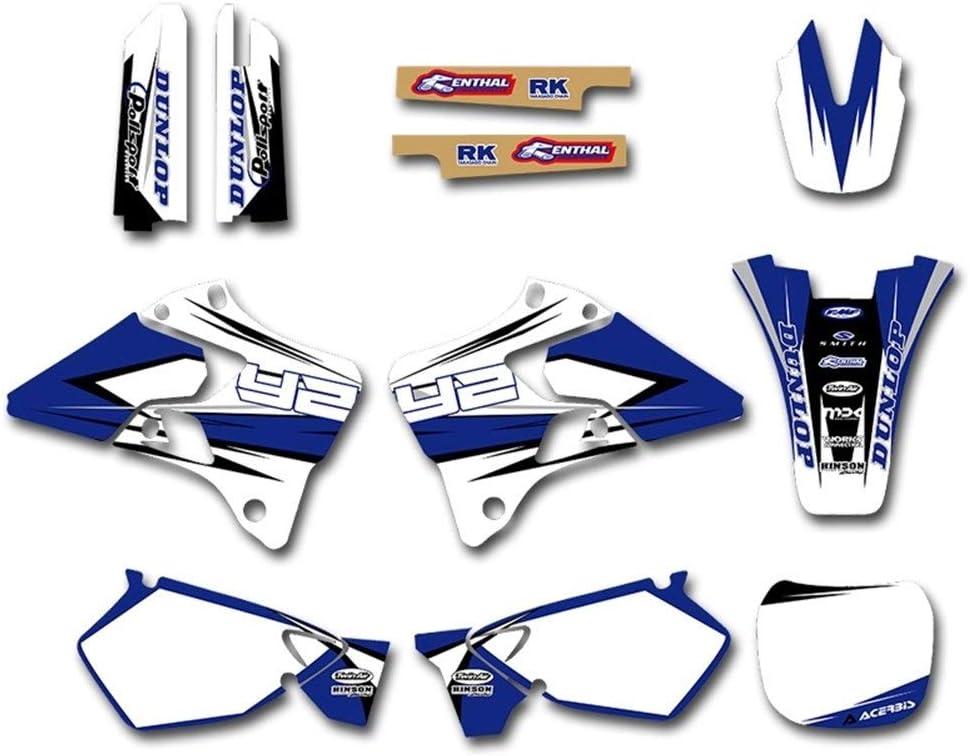 Color : Sticker 2 Autocollant de moto Arri/ère-plan graphique Sticker Decal for Yamaha YZ125 YZ250 YZ 125 250 1996 1997 1998 1999 2000 2001 Dirt Bike Autocollants