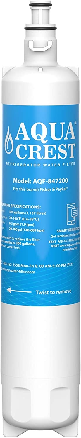 AQUACREST 847200 Refrigerator Water Filter Compatible with Fisher& Paykel 847200, Fisher& Paykel Refrigerator Model Number Starting with RF610, RF522, E522, E442, E422, E402