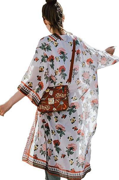 Amazon.com: Mujer gasa floral kimono Cárdigan playa traje de ...