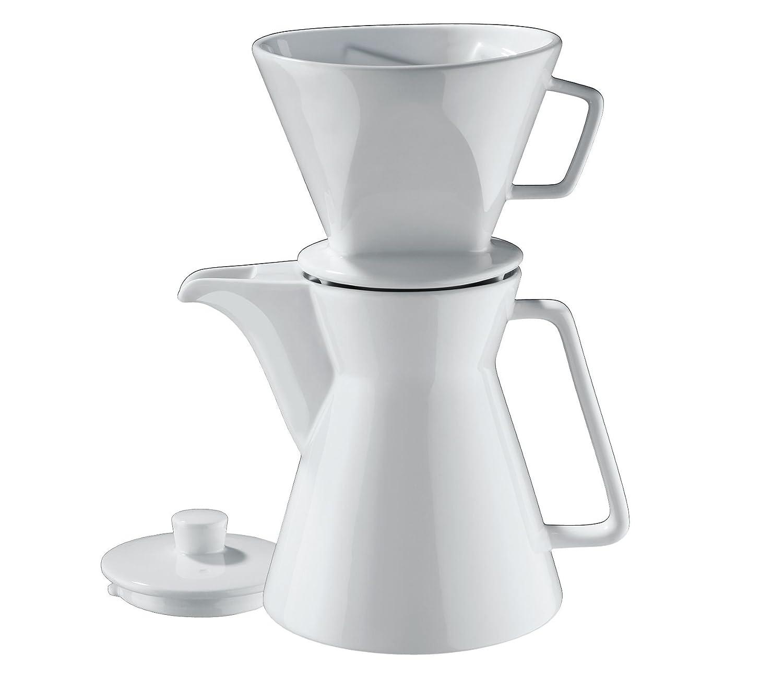Cilio 106060 Kaffeekanne Vienna 1L inkl. Filter Größe 4, Porzellan, Weiß, 29 x 14 x 17 cm Weiß