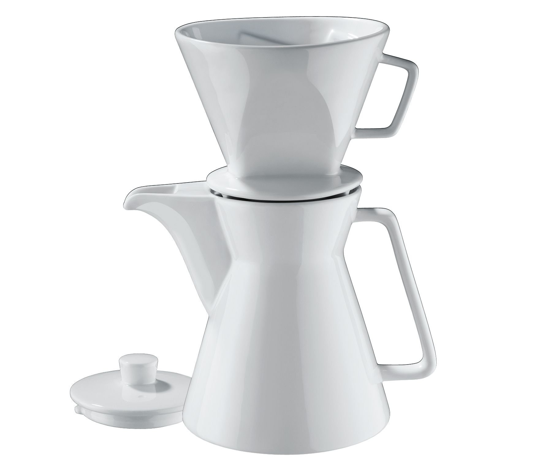 Cilio Premium Vienna Akantus White Porcelain 1l Coffee Pot & 4 Cup Filter Holder