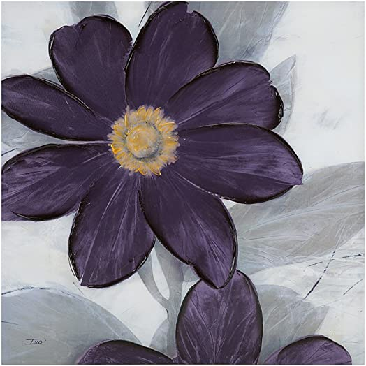 Madison Park 30 X 30 inch, Transitional D cor Midnight Bloom Plum Painted Hand Embellished Floral Canvas Wall Art
