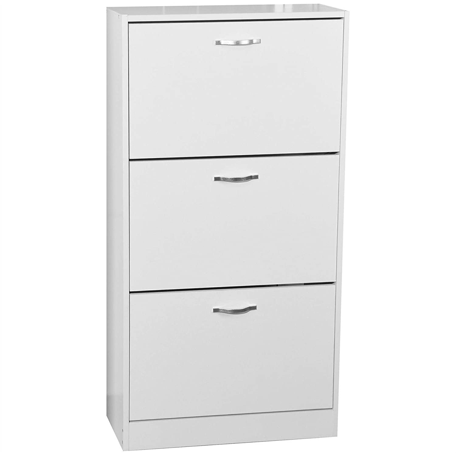 Home Discount 3 Drawer Shoe Cabinet Cupboard Shoe Storage Organiser Pull Down Wooden Furniture Unit White