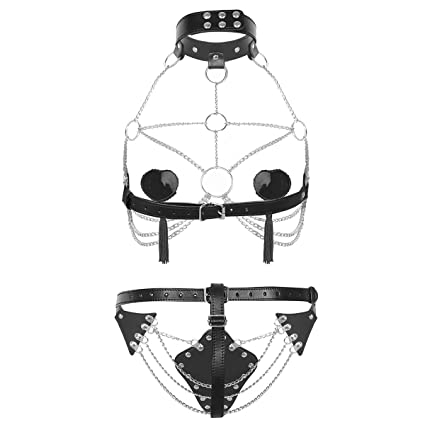 61K%2BBIpNVhL._SX425_ amazon com iiniim women's pu leather open bust body chest harness