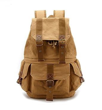 Yimidear Canvas DSLR SLR Camera Backpack Travel Daypack Cool SchoolBag Rucksack with Shockproof Insert & Rainproof