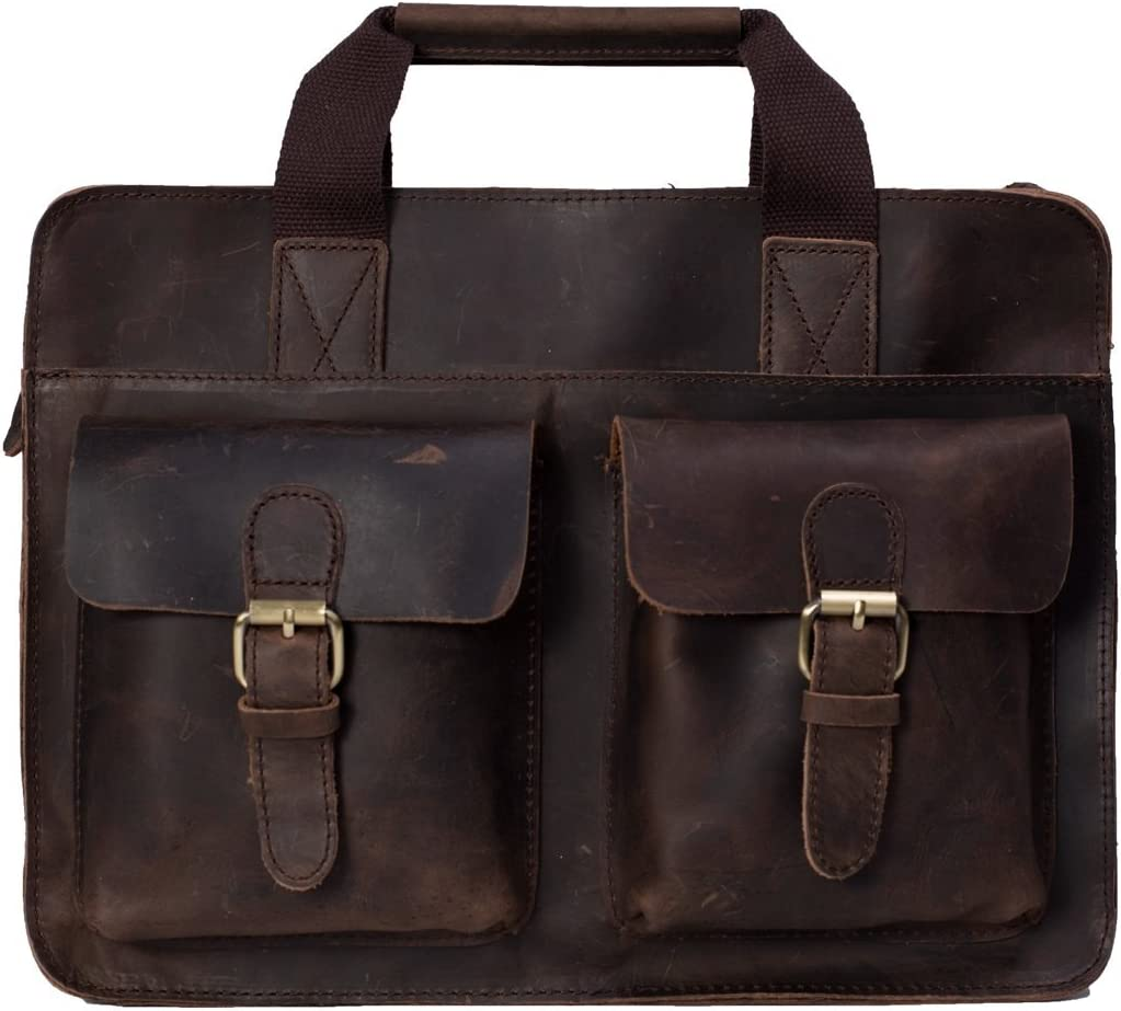 Handcrafted Vintage Style Genuine Leather Mens Briefcase Laptop Bag 6132 Messenger Bag