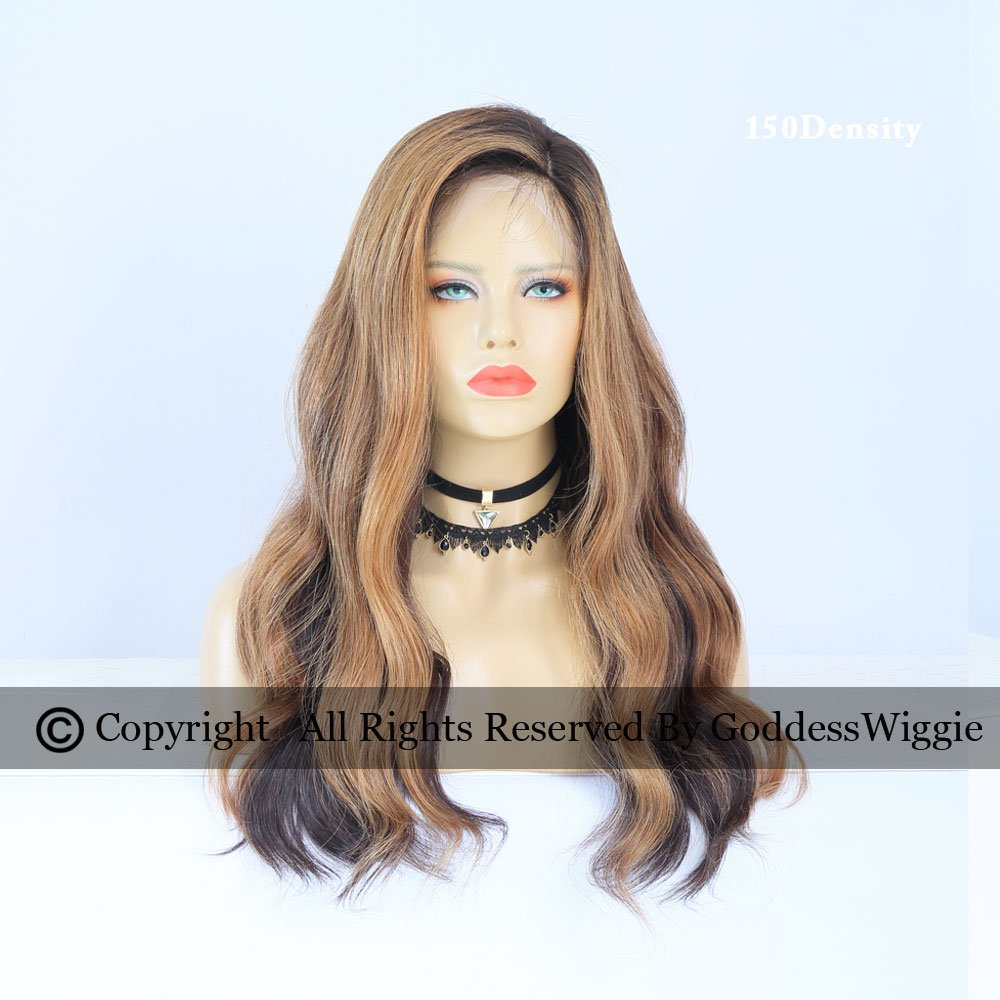 Highlight Brown Human Hair Lace Front Wigs Dark Root Glueless Body Wavy Wigs Side Part Hairstyle (20inch 180density)