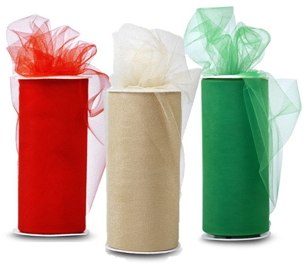 HOLIDAY COLORS !!! - Three Spools of Tulle Fabric In 3 Beautiful Colors, One Spool of Green Tulle Fabric With one Spool of Red Tulle Fabric and One Spool of Shiny Gold (25 Yards Each). kedudes