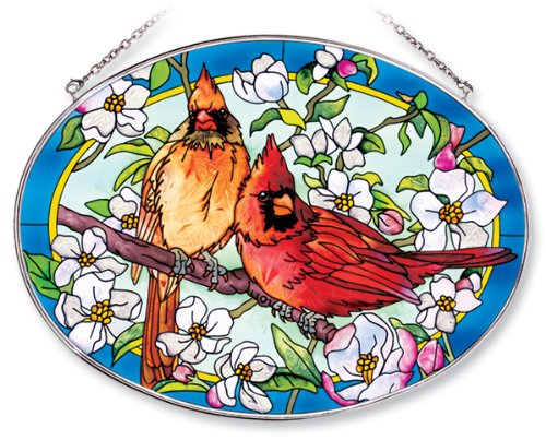 Amia Oval Suncatcher with Orchard Cardinal Design, Hand Painted Glass, 6-1/2-Inch by 9-Inch
