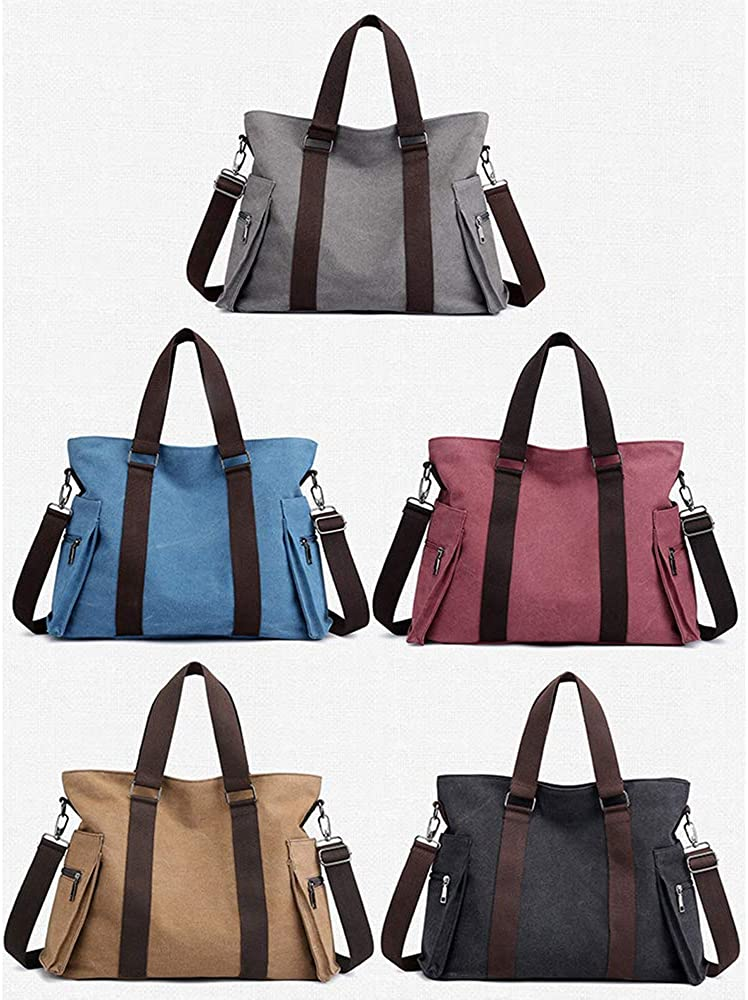 Womens Shoulder Bag Casual Wild Canvas Large Capacity Light Travel Work Daily Portable Messenger Bag